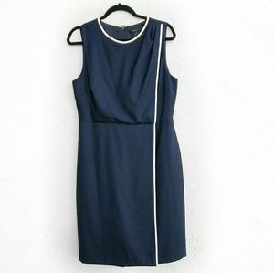 J. CREW Draped Silhoutte Navy Sheath Dress Size 12